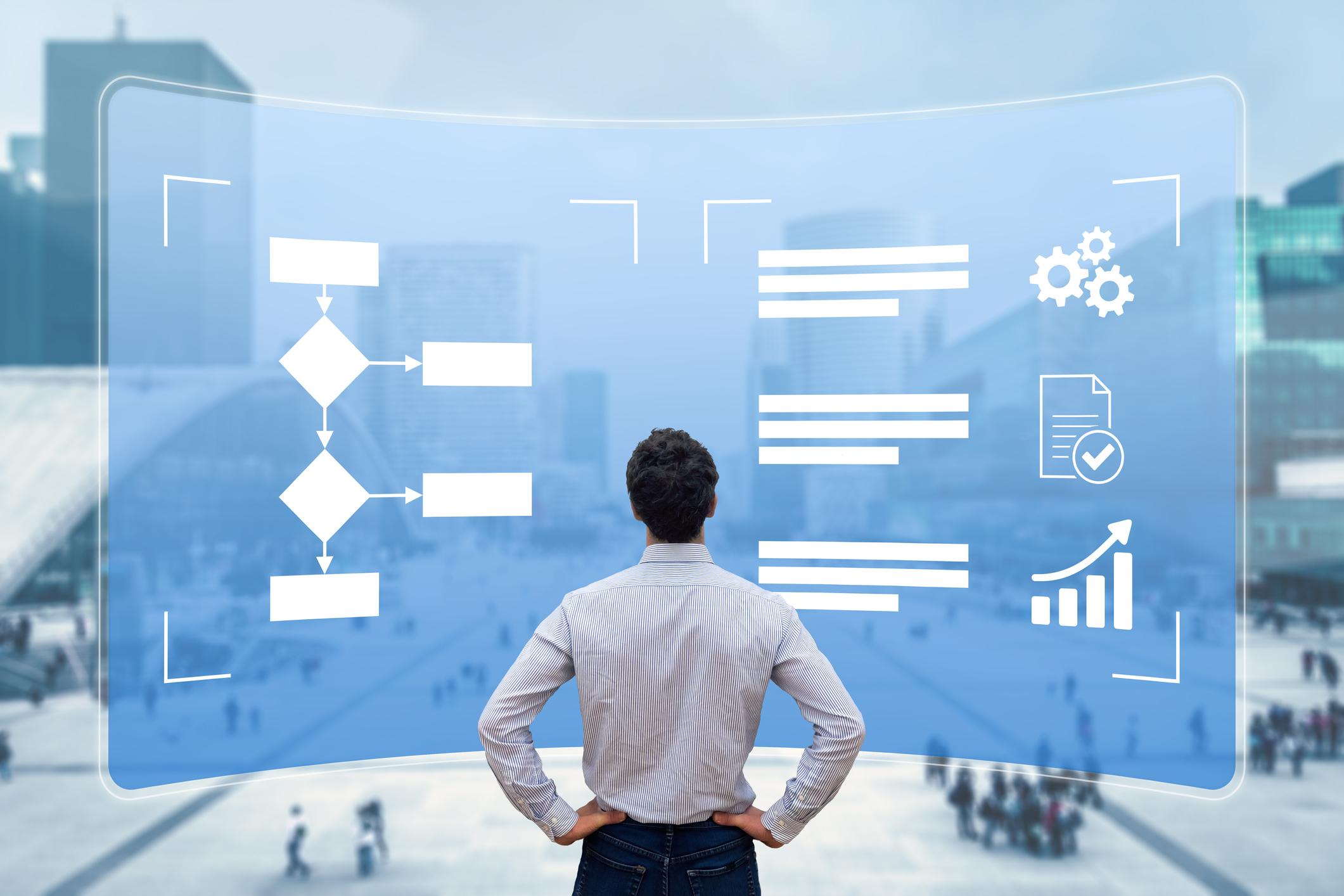 Verimliliği ve üretkenliği artırmak için akış şemalı iş süreci yönetimi. Robotik otomasyonu (RPA) uygulamak için bilgisayar ekranındaki iş akışını analiz eden yönetici