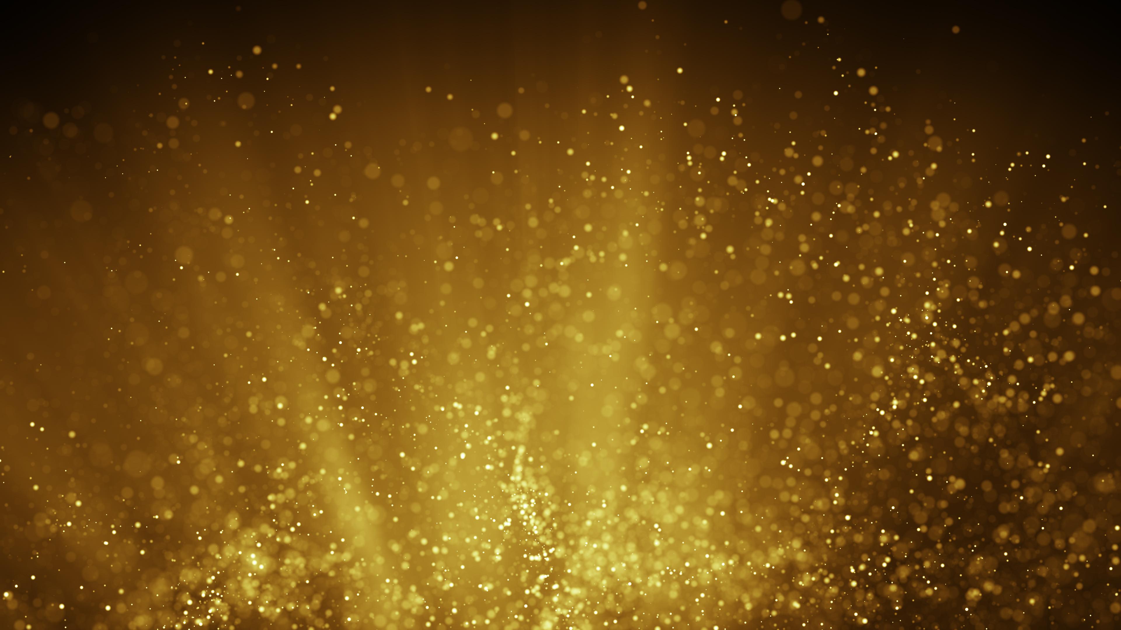 Altın ışık ışınlarında uçan peri tozu. Bilgisayar oluşturulan soyut raster illüstrasyon